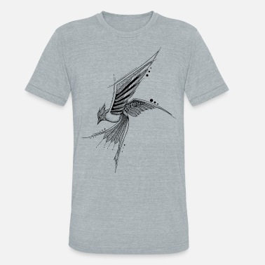 Fun Bird fly hand drawing sketch nature image shape - Unisex Tri-Blend T-Shirt