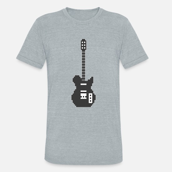 Bass T-Shirts - Pixel E Guitar Player Guitarist Gamer Gift - Unisex Tri-Blend T-Shirt heather gray