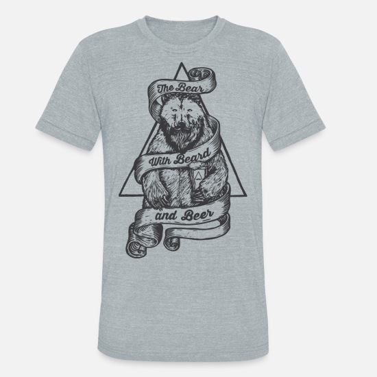 Beer T-Shirts - Beard Beer Bear Shirt - Unisex Tri-Blend T-Shirt heather gray