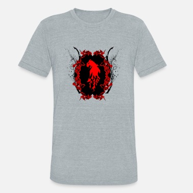 Awesome Lion Awesome red lion silhouette - Unisex Tri-Blend T-Shirt