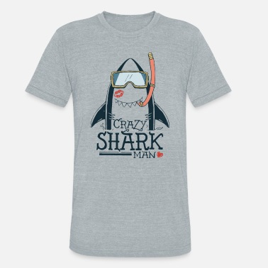 Animaux requin fou - T-shirt tri-blend unisexe