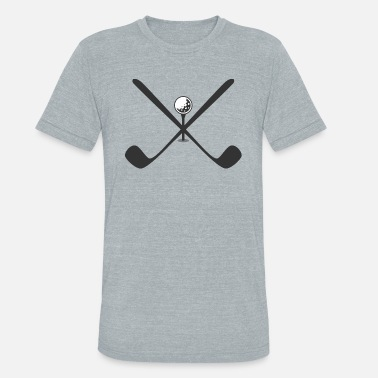 Cross Golf Golf crossed clubs with a golf ball on a tee - Unisex Tri-Blend T-Shirt