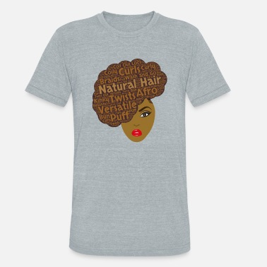 Natural Hair Brown Side Afro Art - Unisex Tri-Blend T-Shirt