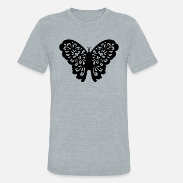 Blue Butterfly butterfly illustration black - Unisex Tri-Blend T-Shirt