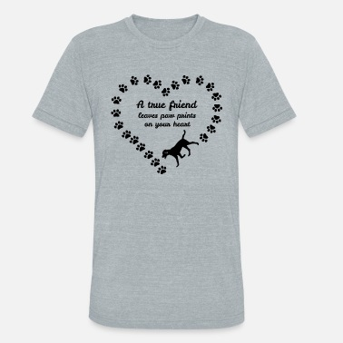 Leave A True Friend Leaves Paw Prints On Your Heart Tees - Unisex Tri-Blend T-Shirt