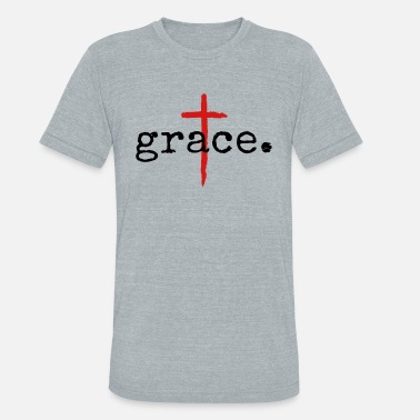 Jesus Grace Christian Cross Design - Unisex Tri-Blend T-Shirt
