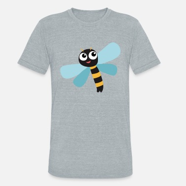 Kids Picture Funny dragonfly insect animal kids picture cartoon - Unisex Tri-Blend T-Shirt