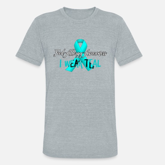 Awareness T-Shirts - Food Allergy Awareness - I Wear Teal - Allergies - Unisex Tri-Blend T-Shirt heather gray