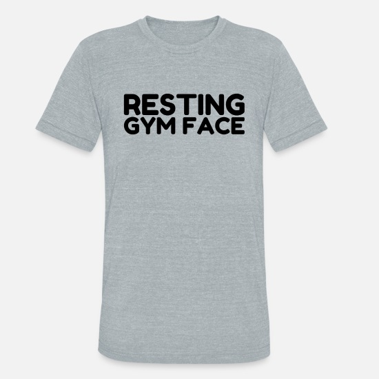 Gym T-Shirts - Resting Gym Face - Unisex Tri-Blend T-Shirt heather gray