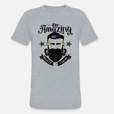 Muscle Gang The Amazing Muscle Stache Mens PRINTED Movember Be - Unisex Tri-Blend T-Shirt