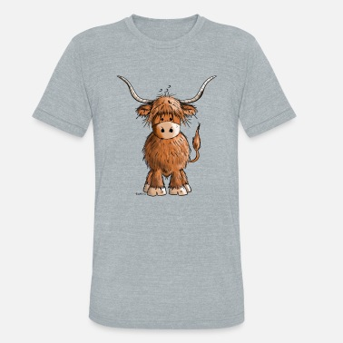 Highland Cute Highland cattle - Cow - Cartoon - Gift - Unisex Tri-Blend T-Shirt
