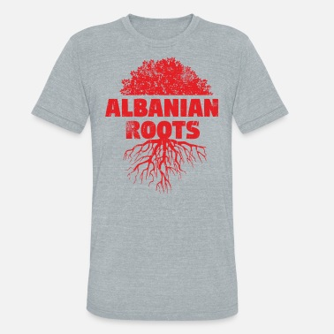Proud Albanian Roots Albanian Red Roots scratched - Unisex Tri-Blend T-Shirt