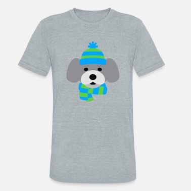 Blue Waffle Cute Dog in Winter hat blue and green strips - Unisex Tri-Blend T-Shirt