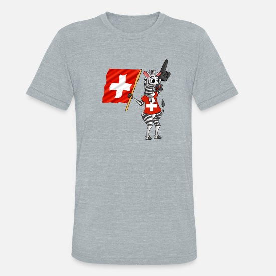 Swiss T-Shirts - A Swiss Zebra - Unisex Tri-Blend T-Shirt heather gray