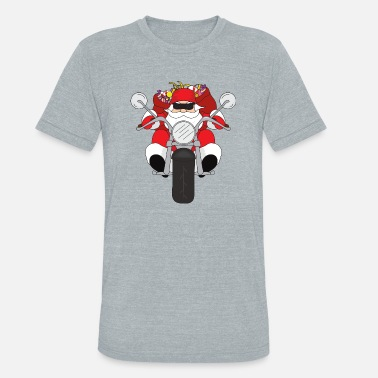 Motorcycle Xmas Funny Santa Claus Xmas Merry Christmas Motorcycle - Unisex Tri-Blend T-Shirt