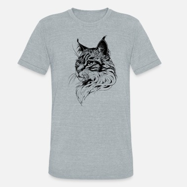 02ec4b74 Cat Cat Portrait hand-drawn - Unisex Tri-Blend T-Shirt