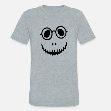 Bad Spirit Halloween Halloween Costume Bad face with glasses - Unisex Tri-Blend T-Shirt