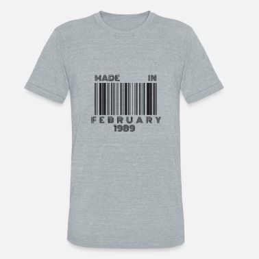 30 Years Born in February 1989 | 30th Birthday Gift Barcode - Unisex Tri-Blend T-Shirt