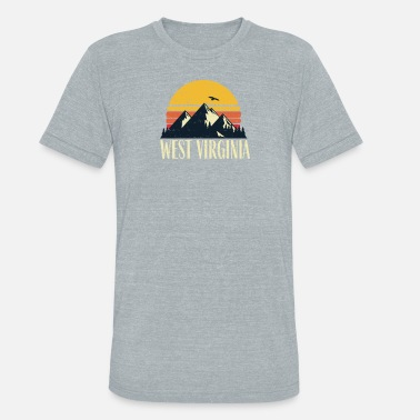 Blue Mountain State West Virginia Retro Vintage State Mountain Sunset - Unisex Tri-Blend T-Shirt