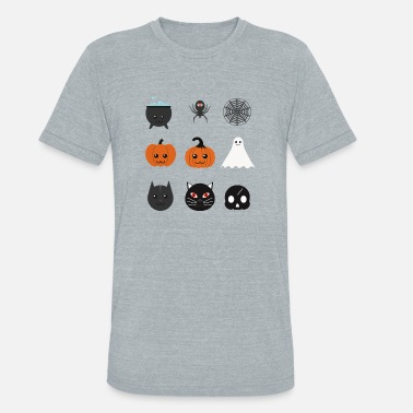 Emoji Couple Pumpkin emojis - Ghost emojis - Unisex Tri-Blend T-Shirt