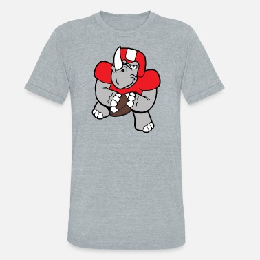 Animation Cute Football Funny Cool Cute Rhinoceros Rhino Football - Unisex Tri-Blend T-Shirt