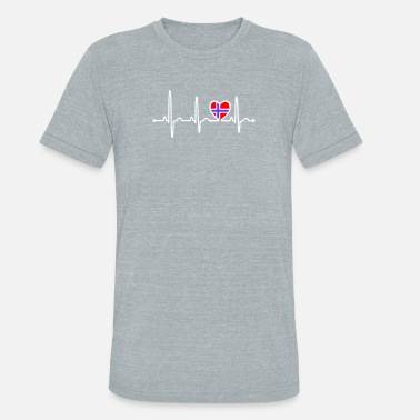 Flags Country Music Norway Country Flag Heartbeat - Unisex Tri-Blend T-Shirt