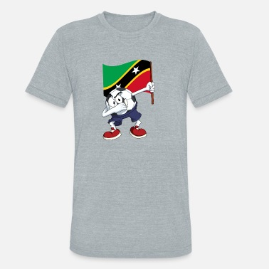 St Kitts Saint Kitts and Nevis Dabbing Soccer Ball - Unisex Tri-Blend T-Shirt