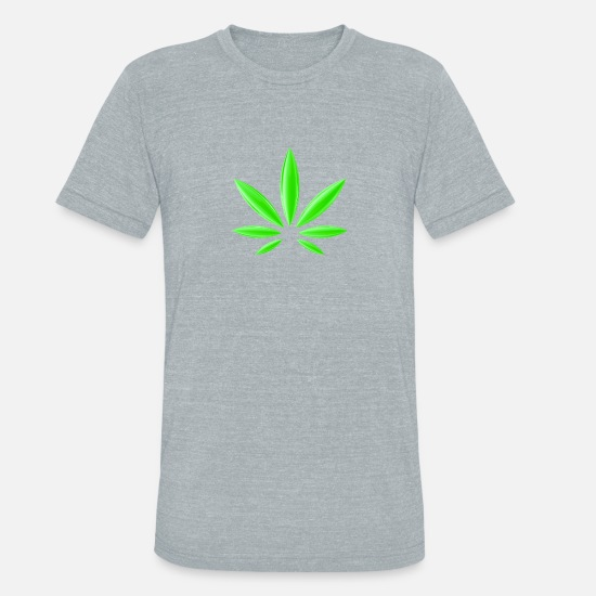 Weed T-Shirts - Cannabis Weed Marijuana Trippy Present - Unisex Tri-Blend T-Shirt heather gray