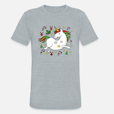 Merry Christmas, Happy Holidays Unicorn Celebrates - Unisex Tri-Blend T-Shirt