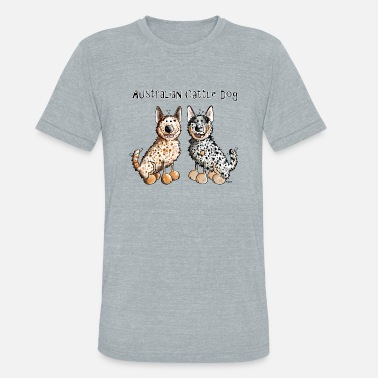 Australian Cattle Dogs Cartoon Two funny Australian Cattle Dogs - Dog - Unisex Tri-Blend T-Shirt
