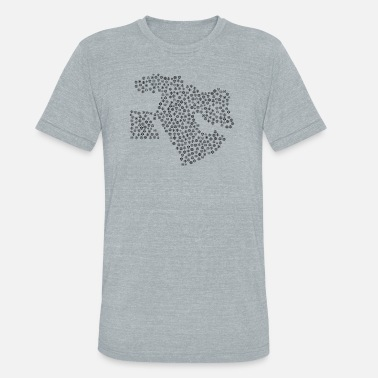 Middle East Snow Wordcloud of a Map of Middle East form (black - Unisex Tri-Blend T-Shirt