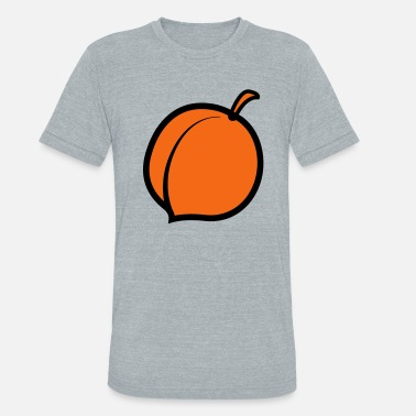 Solitary a single solitary peach fruit - Unisex Tri-Blend T-Shirt