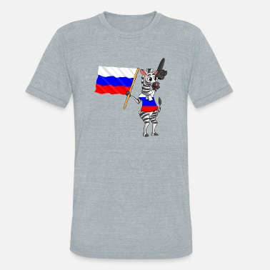 Ru Cartoon A Russian Zebra - Unisex Tri-Blend T-Shirt