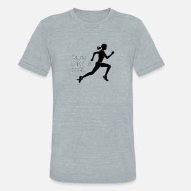 Girl Running girls running - Unisex Tri-Blend T-Shirt