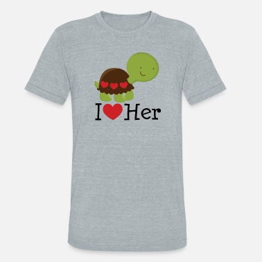 I Heart I Love Her Turtle Dating Gift - Unisex Tri-Blend T-Shirt