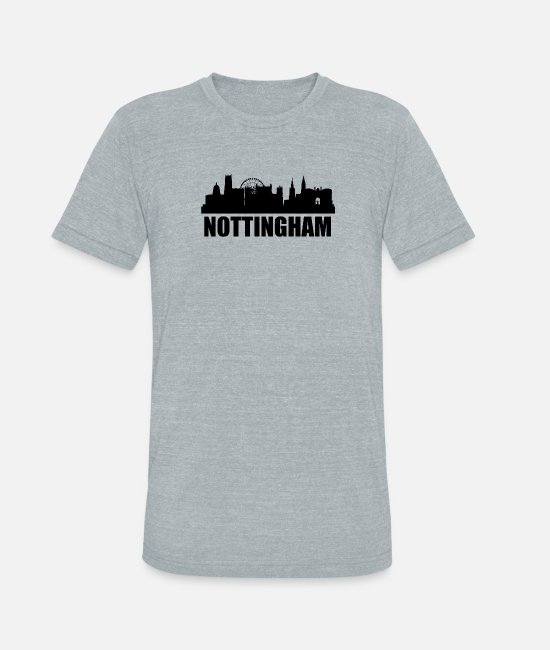 Nottingham T-Shirts - Nottingham Skyline - Unisex Tri-Blend T-Shirt heather gray