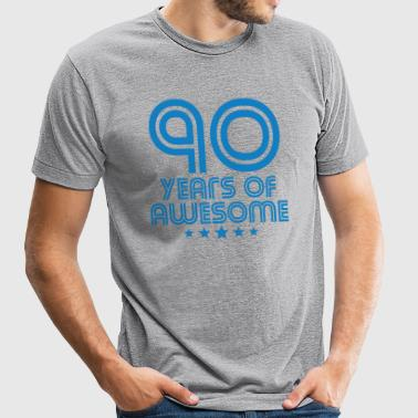 90 Years Of Awesome 90th Birthday - Unisex Tri-Blend T-Shirt