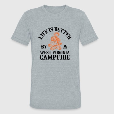 Campfire - LIFE IS BETTER BY A WEST VIRGINIA CAM - Unisex Tri-Blend T-Shirt by American Apparel