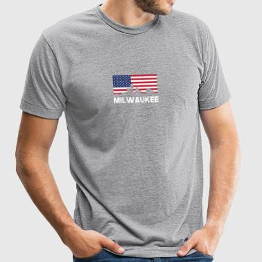 Milwaukee WI American Flag Skyline - Unisex Tri-Blend T-Shirt
