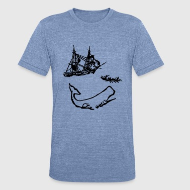 Moby Dick Illustration - Unisex Tri-Blend T-Shirt