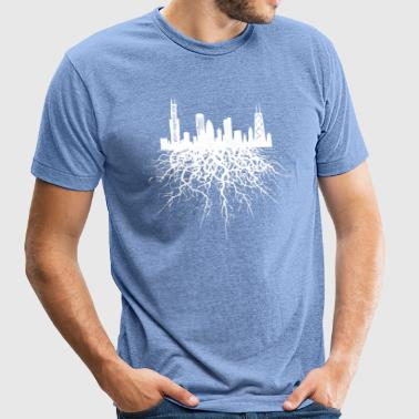 Chicago Roots Chicago Skyline Silhouette Rooted - Unisex Tri-Blend T-Shirt