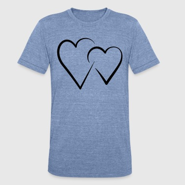 Double Heart double heart - Unisex Tri-Blend T-Shirt