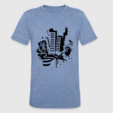 Broadway Avenue A New York City Design   in graffiti style - Unisex Tri-Blend T-Shirt
