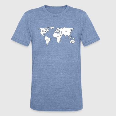 World map - Unisex Tri-Blend T-Shirt