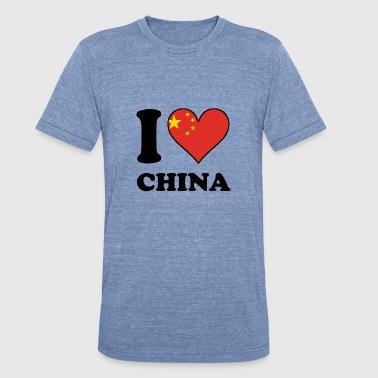 I Love China Chinese Flag Heart - Unisex Tri-Blend T-Shirt