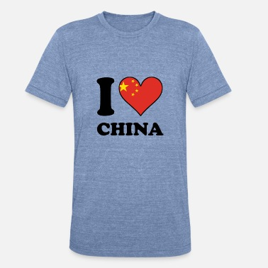 China I Love China Chinese Flag Heart - Unisex Tri-Blend T-Shirt