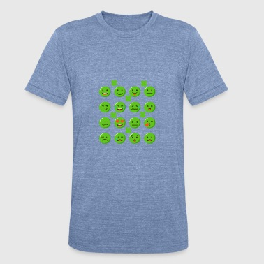 Green Emojis With Shamrocks Clover St Patrick - Unisex Tri-Blend T-Shirt