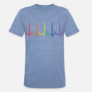 Cardiography Rainbow LGBT Heart Rate Pulse Cardiography Pride - Unisex Tri-Blend T-Shirt