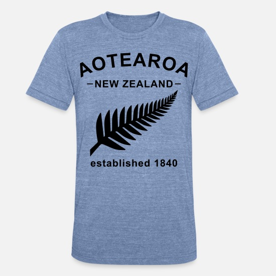 New Zealand T-Shirts - New Zealand Design - Unisex Tri-Blend T-Shirt heather Blue