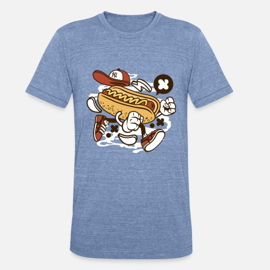 Dog T-Shirts - Hot Dog - Unisex Tri-Blend T-Shirt heather Blue